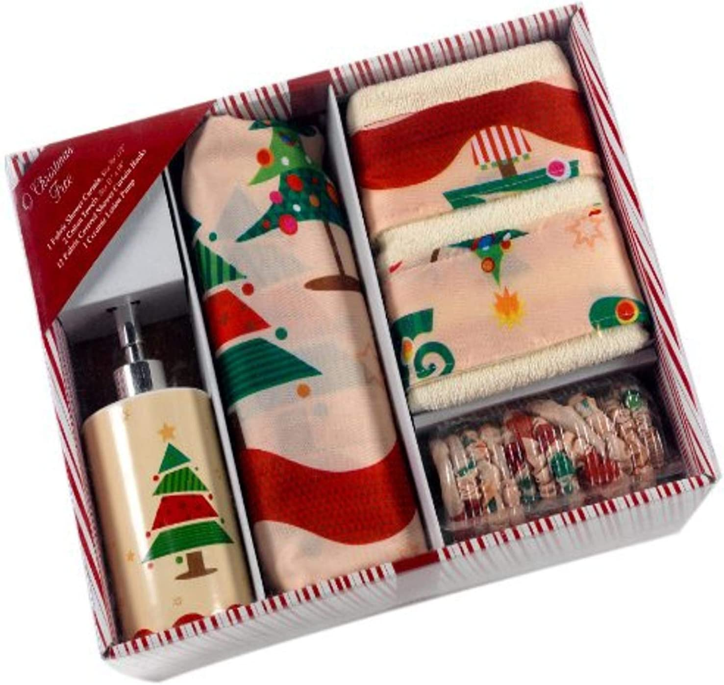 Amazon Com Carnation Home Fashions 16 Piece Bath Set O Christmas Tree Home Kitchen