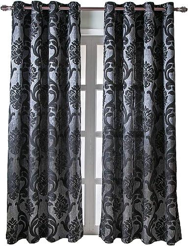 NAPEARL European Style Jacquard Semi-Blackout Grommet Top Window Curtain Panel Set of 2 Panels Black, 52 Wx108 L
