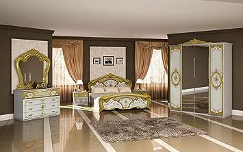 Schlafzimmer Barock Stil Julianna 4 Teilig Weiß Gold