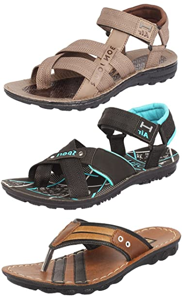 e7730b001c523 Ethics Men's Perfect Stylish 3 Brown & Sea Green Casual Sports Sandals ...