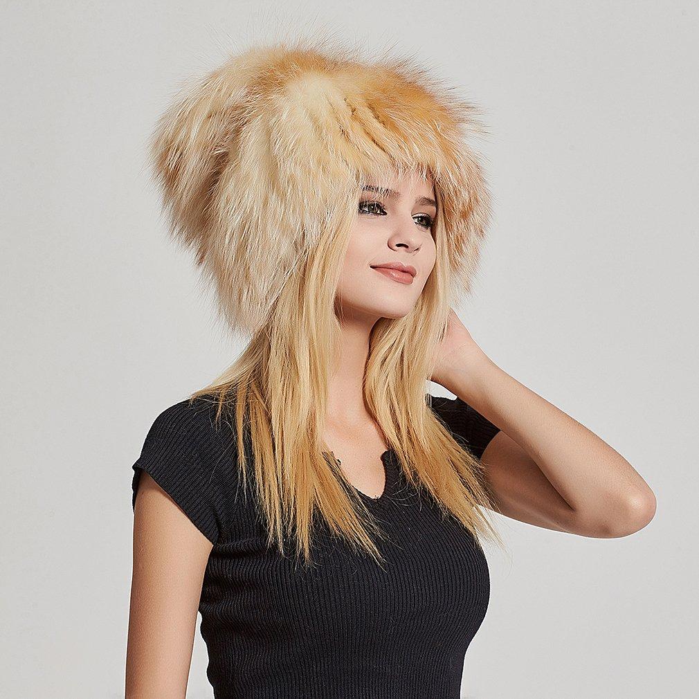 Fur Story Women's Real Fox Fur Skullies Beanie Hat Elastic Warm Winter Hats Gold Fox by Fur Story (Image #3)