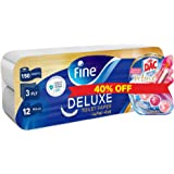 Fine Sterilized Toilet Paper, Deluxe, 150 sheets x 3 Ply + DAC Rim Block Magnolia Toilet Cleaner