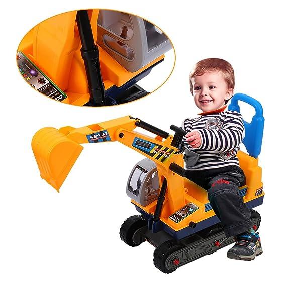 Cocoarm Sitzbagger Kinderbagger Rutscher mit Helm Bagger Rutschbagger Sandbagger Loader Kinderfahrzeug Gelb
