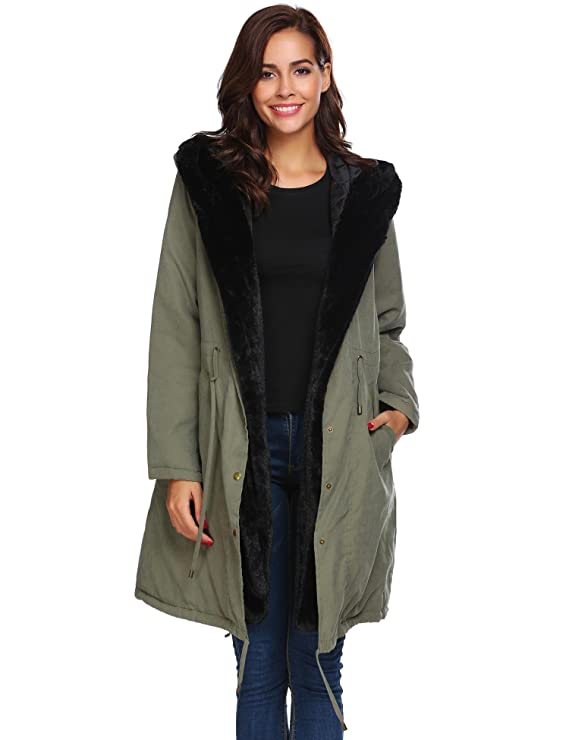 Amazon.com: sholdnut Womens Military Hooded Warm Winter Warm Lined Parkas Long Trench Coats: Clothing