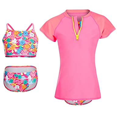 1ae8762a58d53 DAYU Girl's Octopus Printing 3 Piece Swimsuit Bathing Suit with Short  Sleeve Rashguard Shirt Pink