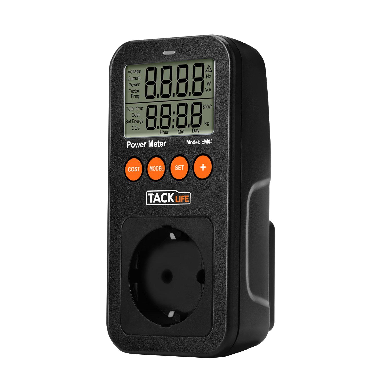 Tacklife Advanced EM03 Medidor de consumo de energía / Medidor de potencia de salida / 100-260V AC / 16A 3680W Max / Calcular Gastos de consumo electrico