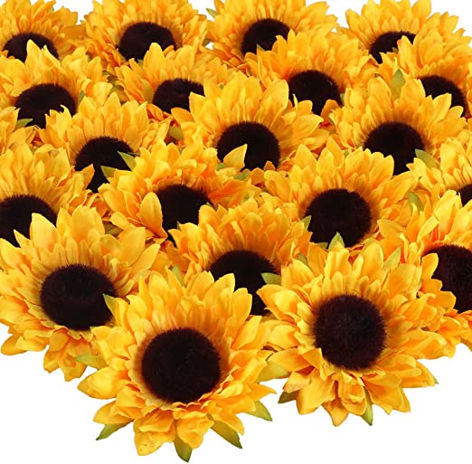 HUAESIN 24Pcs Cabeza Girasoles Artificiales Amarillas 9cm ...