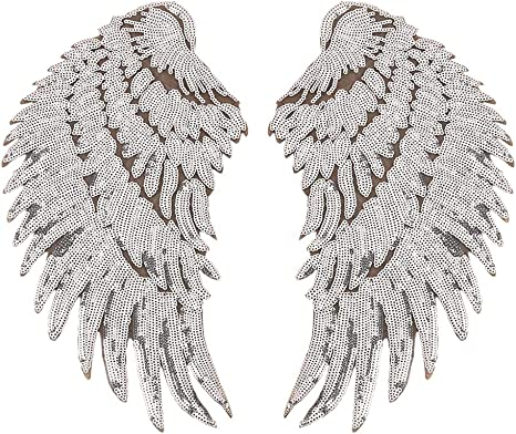 1 pair gold OR silver Sequin Angel wings Iron-on Craft applique patch trim.