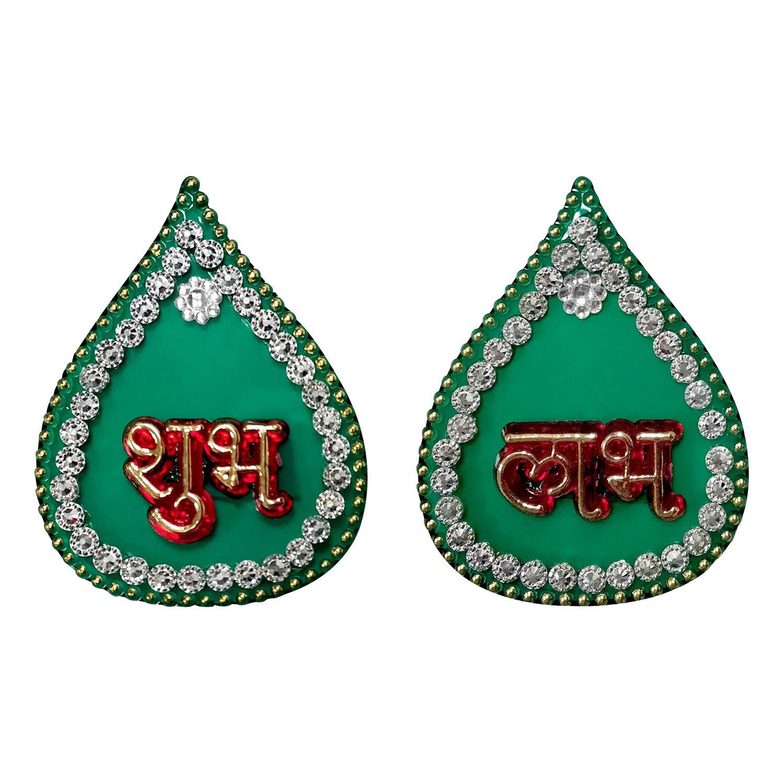 Aheli Acrylic Handcrafted Green Modak Shape Shubh Labh Wall Sticker Indian Traditional Diwali Festive Home Office Door Decoration