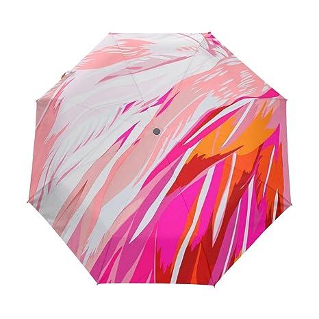 COOSUN Resumen del flamenco automático 3 plegable Sombrilla de Protección Solar anti-UV Paraguas de