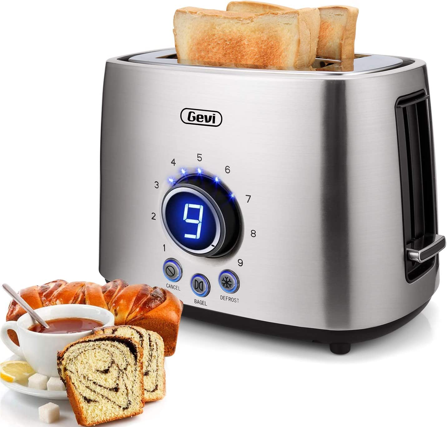 2 Slice Toaster LED Display,9 Shade Stainless Steel Toasters with Cancel, Bagel and Defrost Function, Extra Wide Slots Removable Crumb Trays Compact Toaster,Auto Pop Up,900W