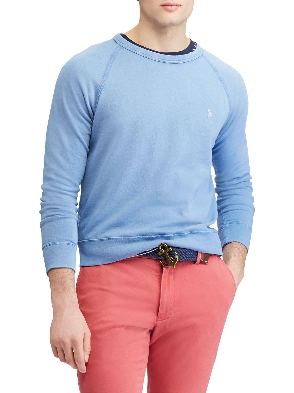 RALPH LAUREN Polo Men's Cotton Spa Terry Long Sleeve Crew Neck Sweatshirt City (City Blue, Large)