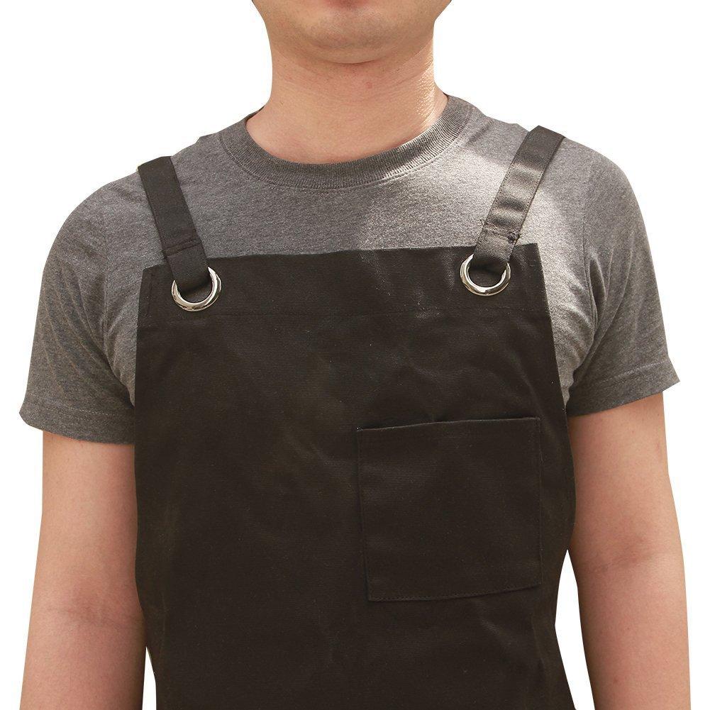 HANSHI Unisex heavy duty encerado Lienzo trabajo delantal con impermeable Función, Suave y traje de ventilación para cocina, jardín, cerámica, ...