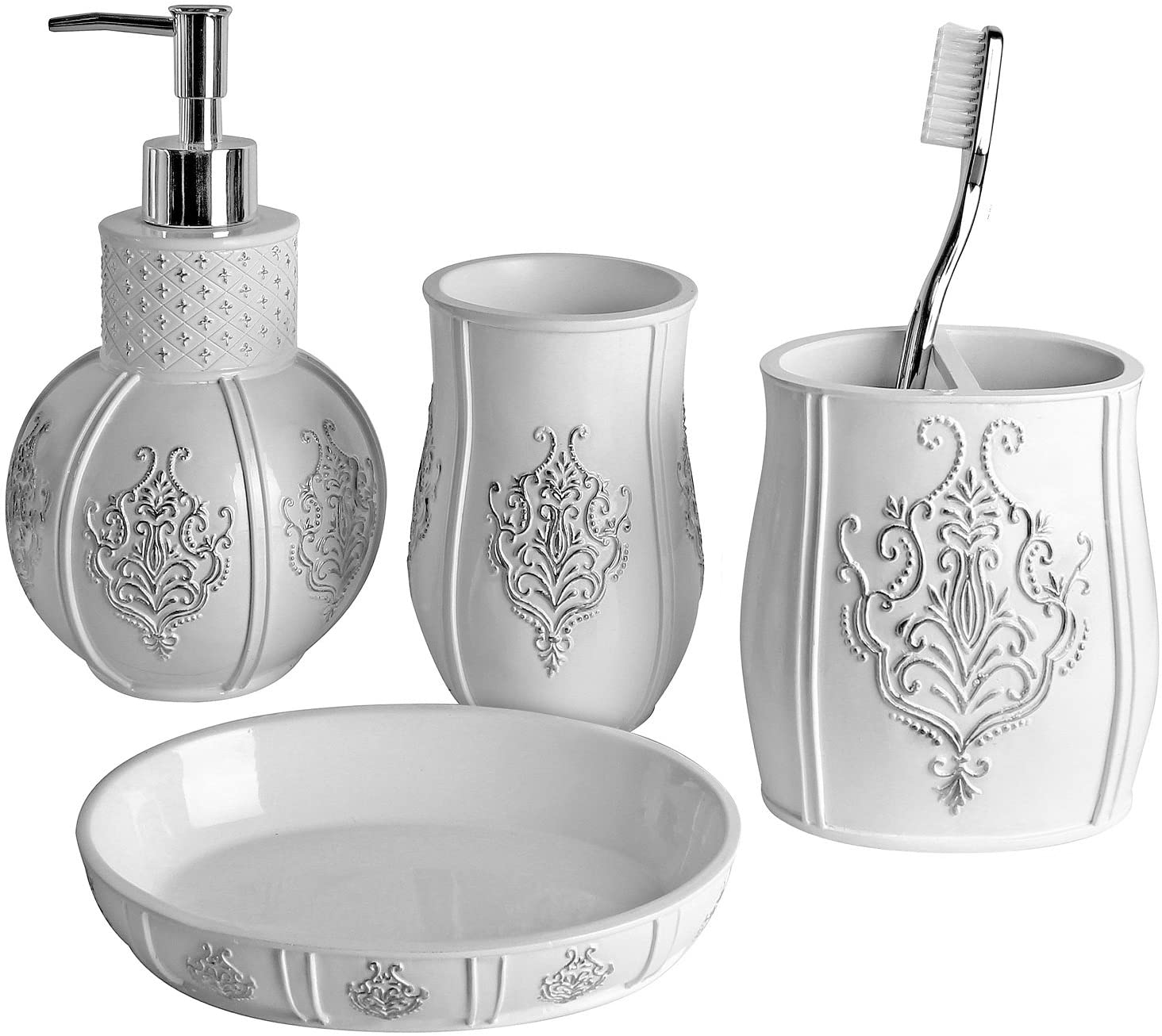 4 piece bathroom accessories made of ceramic silver Schw/änlein Bathroom set soap dish and toothbrush cup toilet brush silver soap dispenser