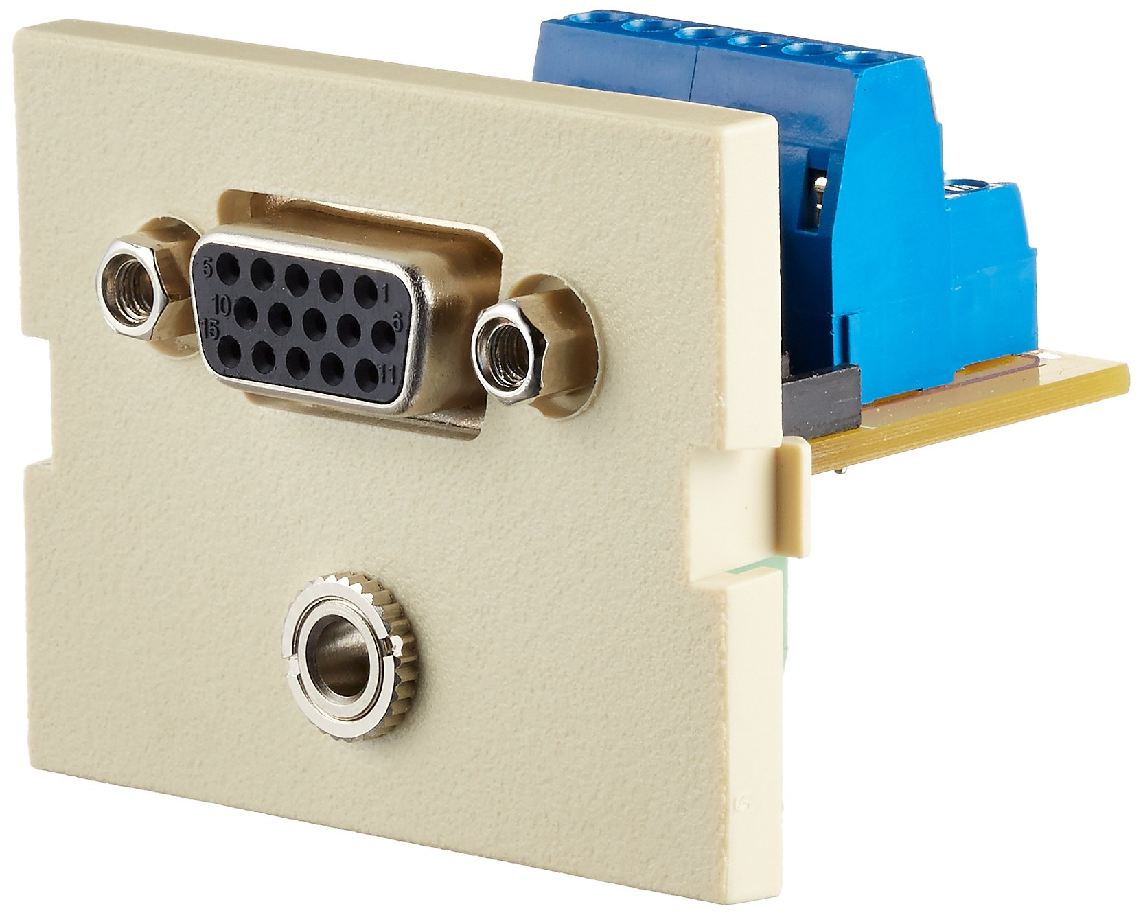 Hubbell IM15315EI Unloaded iSTATION Module, SVGA and 3.5 mm Audio Port, Screw Terminals, 1.5U, Electric Ivory (Pack of 25)