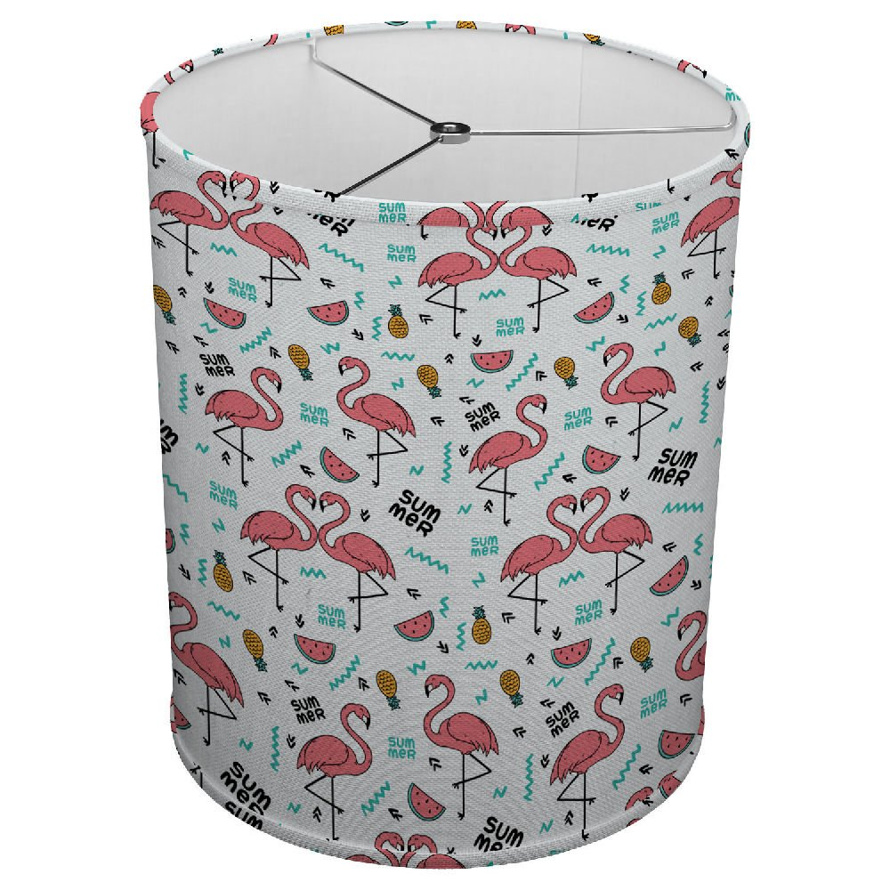 Hardback Linen Drum Cylinder Lamp Shade 8'' x 8'' x 8'' Spider Construction [ Pink Love Flamingo ]