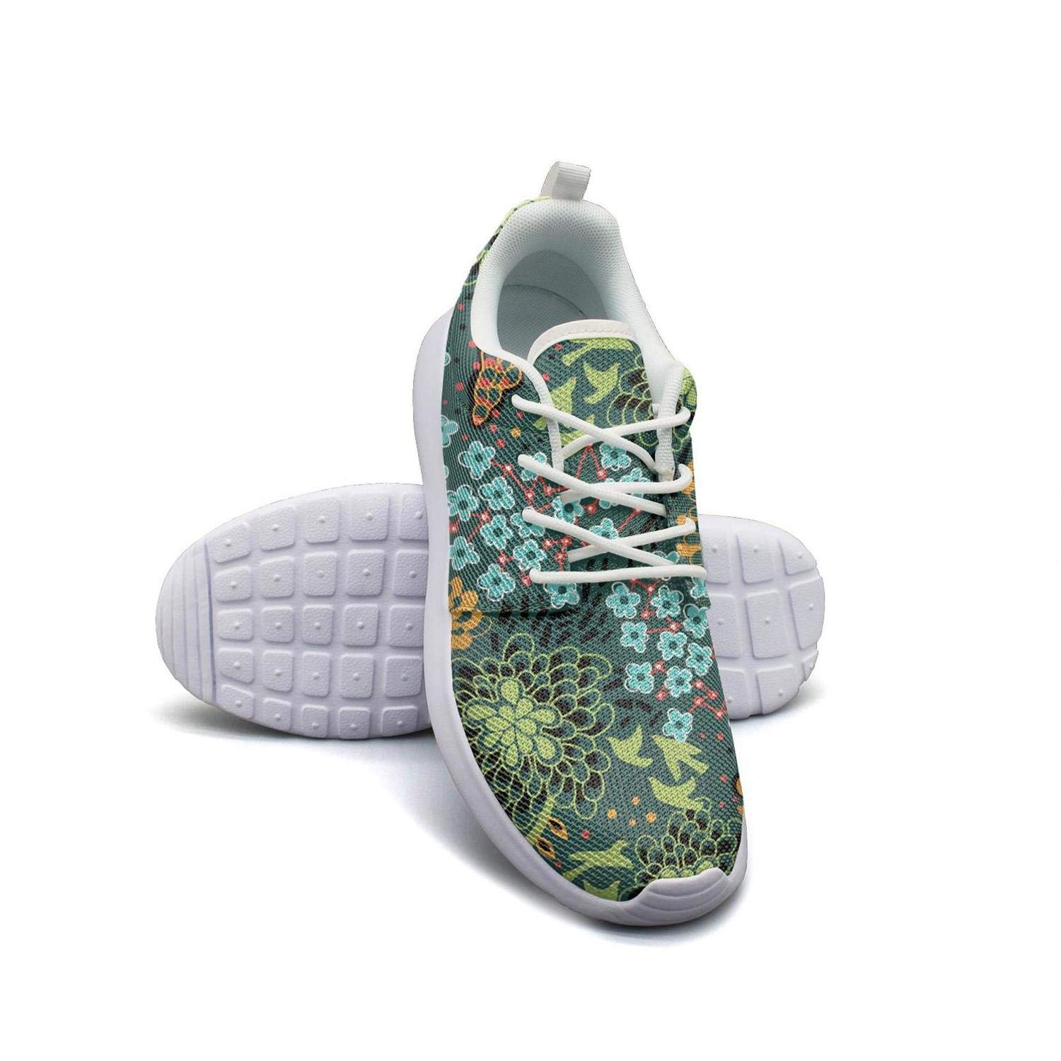 Green Cheerful Birds Flying in The Flowers Running Shoes Lightweight Men Sneaker Workout Breathable Shoes