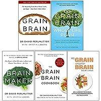 David Perlmutter 5 Books Collection Set (Grain Brain, The Grain Brain Whole Life Plan, Brain Maker, The Grain Brain Cookbook & No Grain, Smarter Brain)