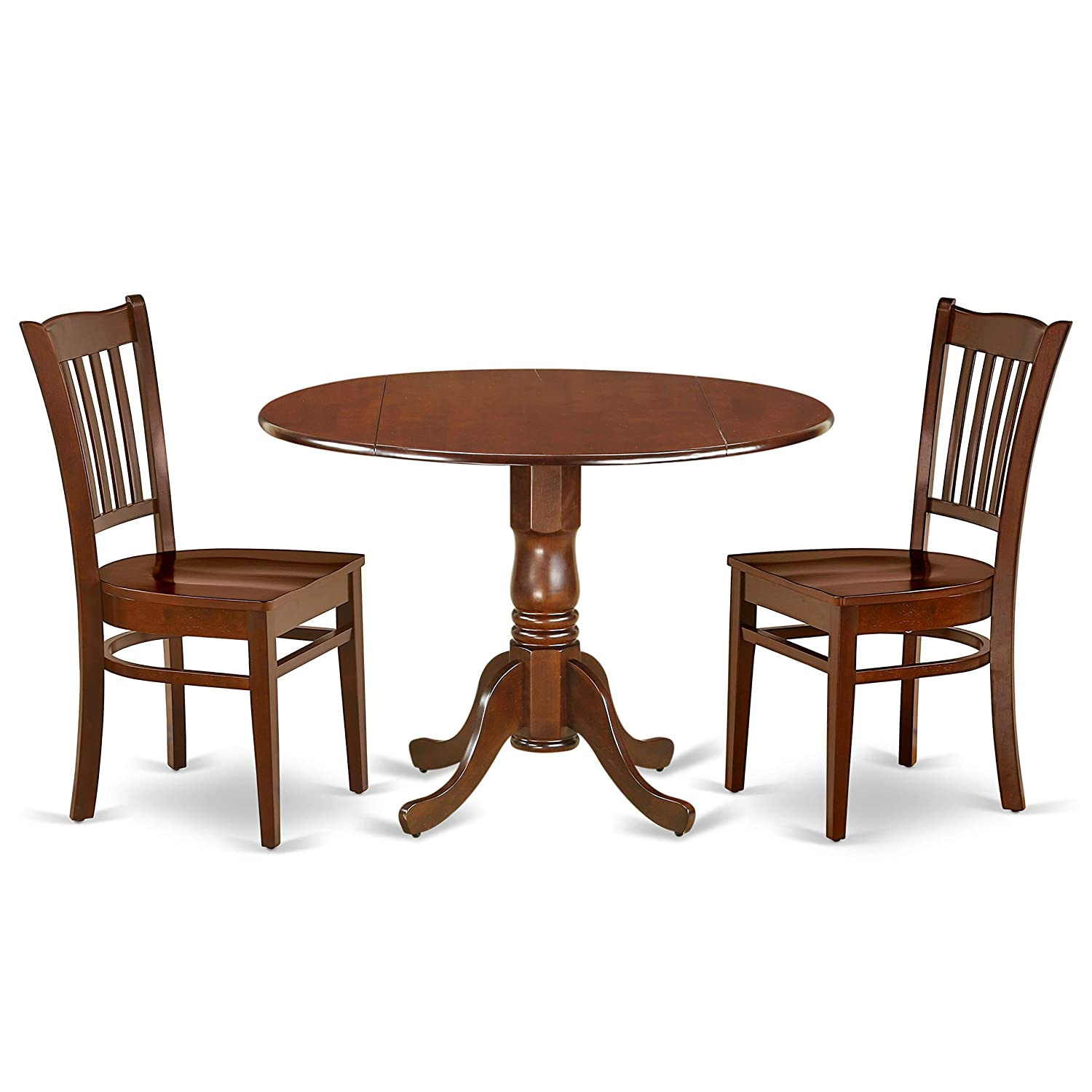 East West Furniture DLGR3-MAH-W 3Pc Round 42 Inch Dining Table with Two 9-Inch Drop Leaves and 2 Wood Seat Chairs, 3, Mahogany