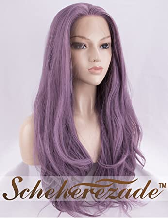 Scheherezade Ash Purple Lace Front Wig for Women Half Hand Tied Natural  Straight Long Dark Ash 96730ff80