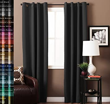 Living Room Curtains amazon living room curtains : Amazon.com: TURQUOIZE Pair(2 Panels) Solid Blackout Drapes, Smoked ...
