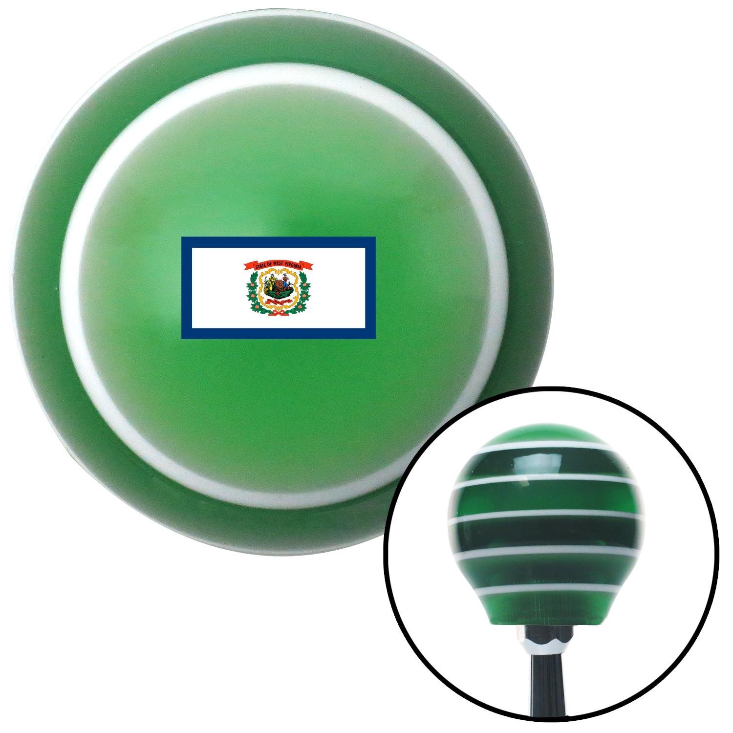 American Shifter 305397 Shift Knob West Virginia Green Stripe with M16 x 1.5 Insert
