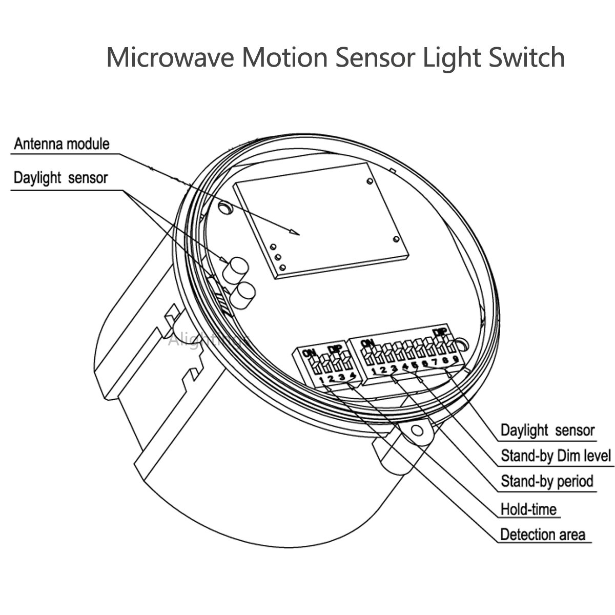 Motion Sensor Switch Automatic Switching Based On And Ambient Light Wiring Diagram Small Pir Level For Garages Warehouses