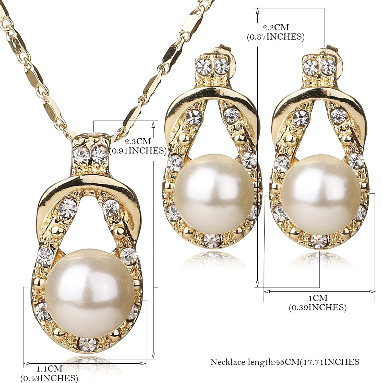 4fb26f54f7 Amazon.com: IFFURMON Fashion Charm Women Jewelry Sets Imitation Pearl  Statement Pendant Necklace Earrings Set: Jewelry