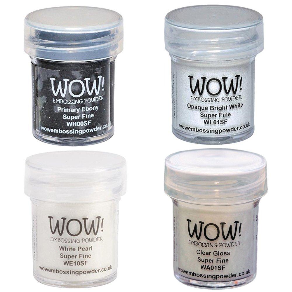 Wow! Embossing Powder Super Fine Black & White Bundle: Primary Ebony, Opaque Bright White, White Pearl, Clear Gloss, 15ml