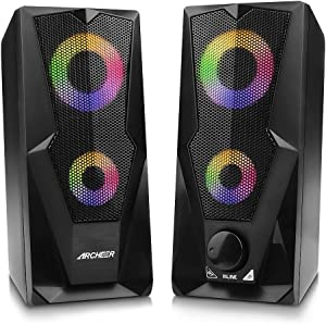 Computer Speakers ARCHEER 10W RGB Gaming PC Speaker with Enhanced Stereo Bass Colorful LED Light, Dual-Channel Multimedia USB Powered Gaming Speakers for PC Desktop Laptop Tablet Smartphones.