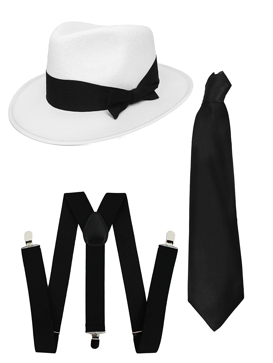 Mens Trilby Al Capone Gangster Black And White Hat Adults Fancy Dress Accessory