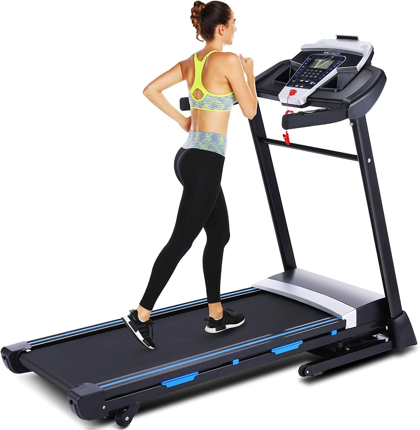 Ultrar 3.25HP Folding Treadmill, Electric Automatic Incline Treadmill, Walking Jogging Running Machine with APP Control for Home Gym Cardio Fitness Exercise Trainer (Black)