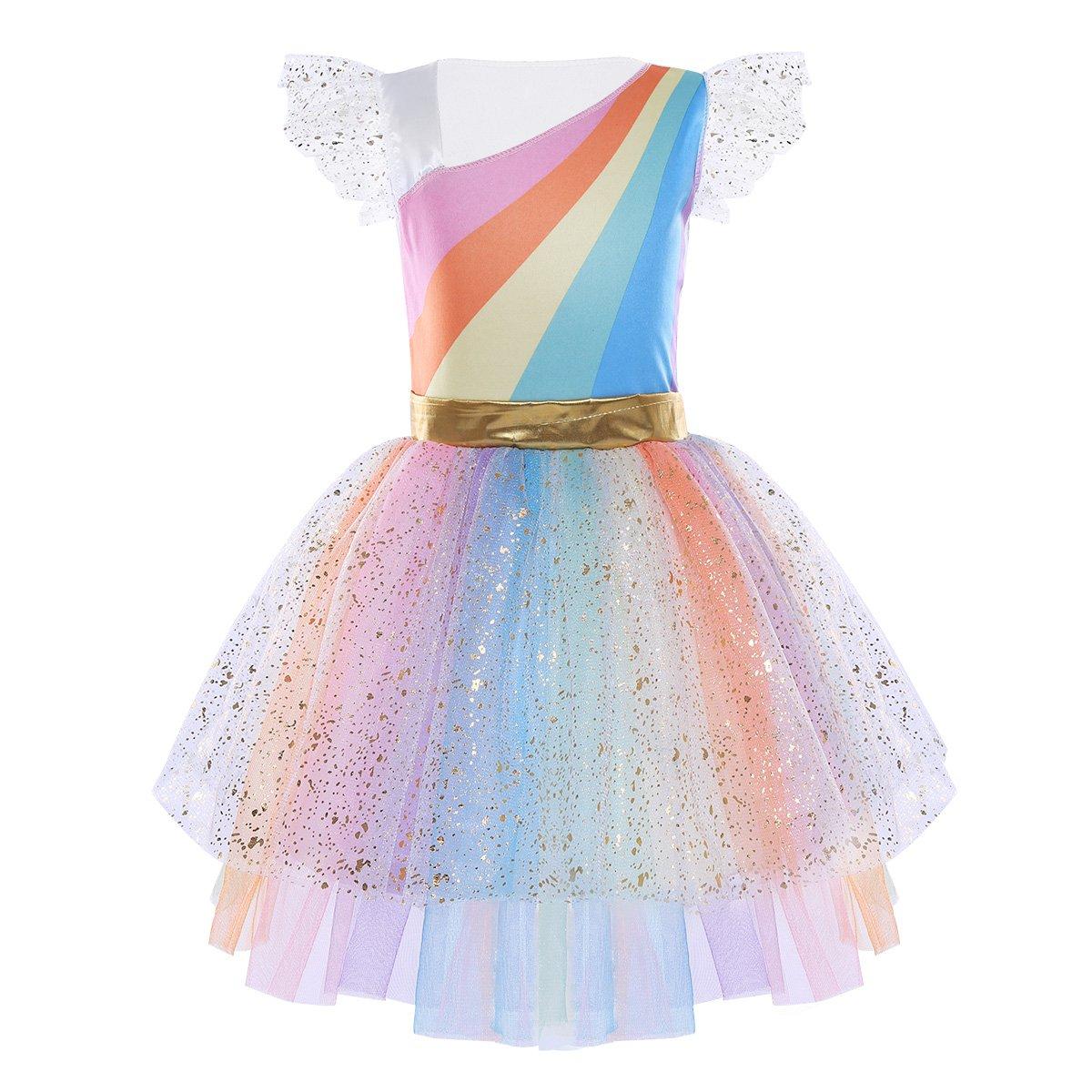 Freebily Disfraz Princesa Ni/ña para Carnaval Halloween Vestido Fiesta Ni/ñas de Cosplay Conjunto con Alas Diadema Inf/ántil