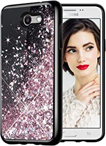 Caka Galaxy J7 2017 Case, Starry Night Series Bling Glitter Flowing Floating Luxury Liquid Sparkle Soft TPU Case for Samsung Galaxy J7 Sky Pro Prime J7 V J7 Perx Halo 2017(AT T) (Rose Gold)