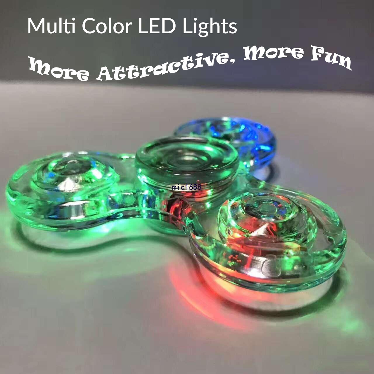 Fidget Spinner [5 Pcs] MEGA Pack, Crystal Led Light Up Rainbow Toy, Clear Fidget Toy |The Mesmerizing Led Lights| Sensory Finger Fiddle Toy |For Boredom Adhd Anxiety Stress Relief |Adults, Boy N Girls by TornadoZ (Image #4)