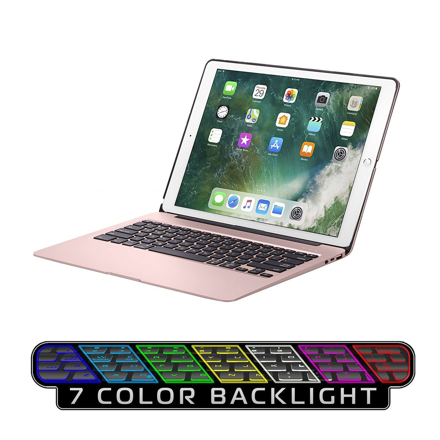 Keyboard Case for iPad Pro 12.9,7 Colors Backlight Slim Aluminum Wireless Keyboard with Protective Translucent Silicone Keyboard Cover and 5600 mAh Power Bank for iPad Pro 12.9 inch(12.9 Rose Gold) by KINGZE (Image #1)