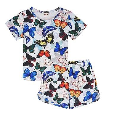 2e8911c6c6373 ModaIOO Girls Butterfly Pajamas Kids 2Piece Sleepwear Set(100,BF)