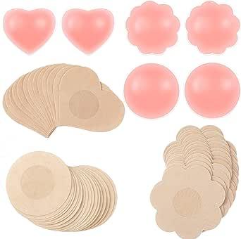 3 Pairs Nipple Cover Breast Pasties Gel Breast Pads and 30 Pairs Disposable Nipple Cover Breast Petal Heart Round Shape Pasties