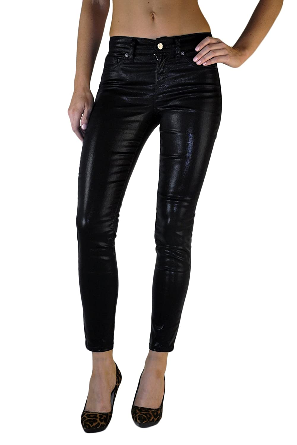 Standards & Practices Women's Black Coated Stretch Denim Cropped Skinny Jeans