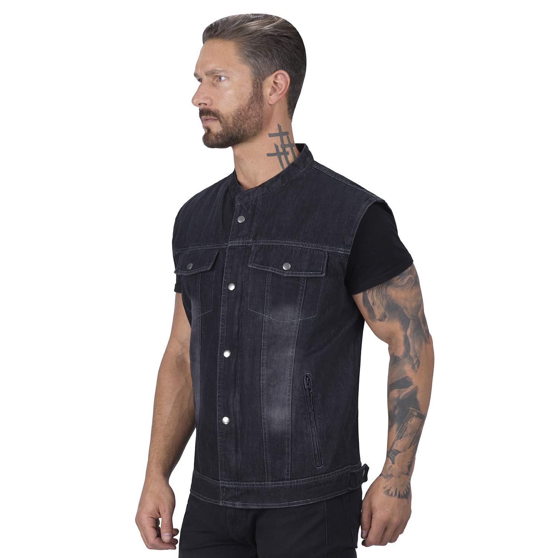 Viking Cycle Denim Motorcycle Vest for Men Black, Medium