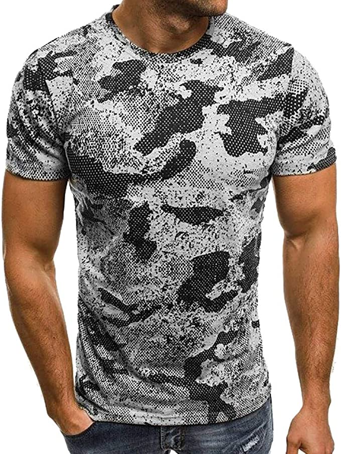 Celucke Camouflage T-Shirt Herren T Shirts Männer Slim Fit  Rundhalsausschnitt Stretch Basic Muskelshirts Kurzarm Sweatshirt Coole Tee  Kurzarmshirt Mann Casual Moderne Top: Amazon.de: Bekleidung