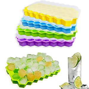 4 Pack Silicone Ice Cube Tray with Lids BPA Free, Easy Release Square Ice Trays for Freezer , Food Grade Silica Gel Flexible for Cocktails,Whiskey & Baby Food and Frozen Treats Gadgets