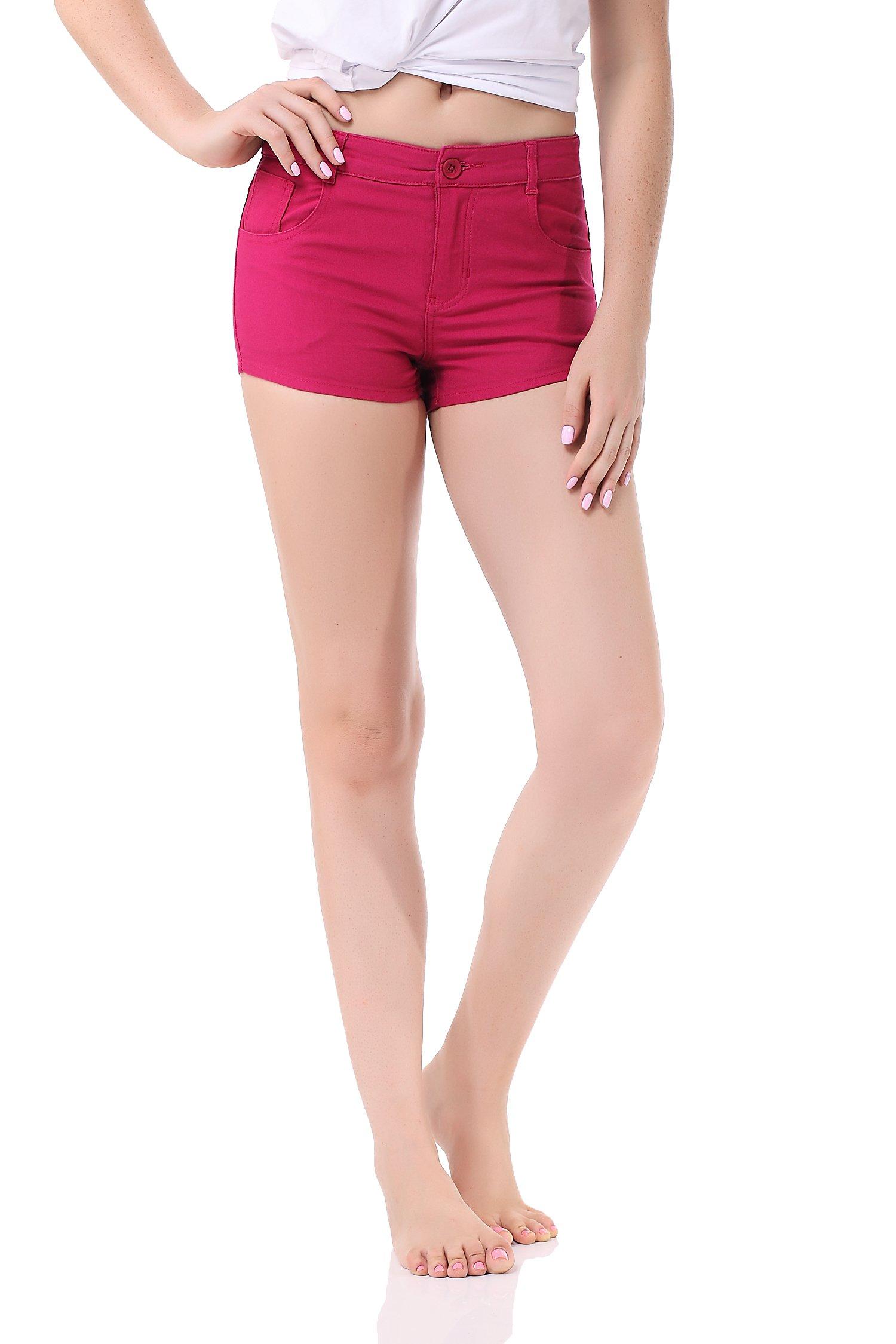 Pau1Hami1ton GP-09 Women's Bermuda Solid Summer Stretch Shorts (S,Purple)
