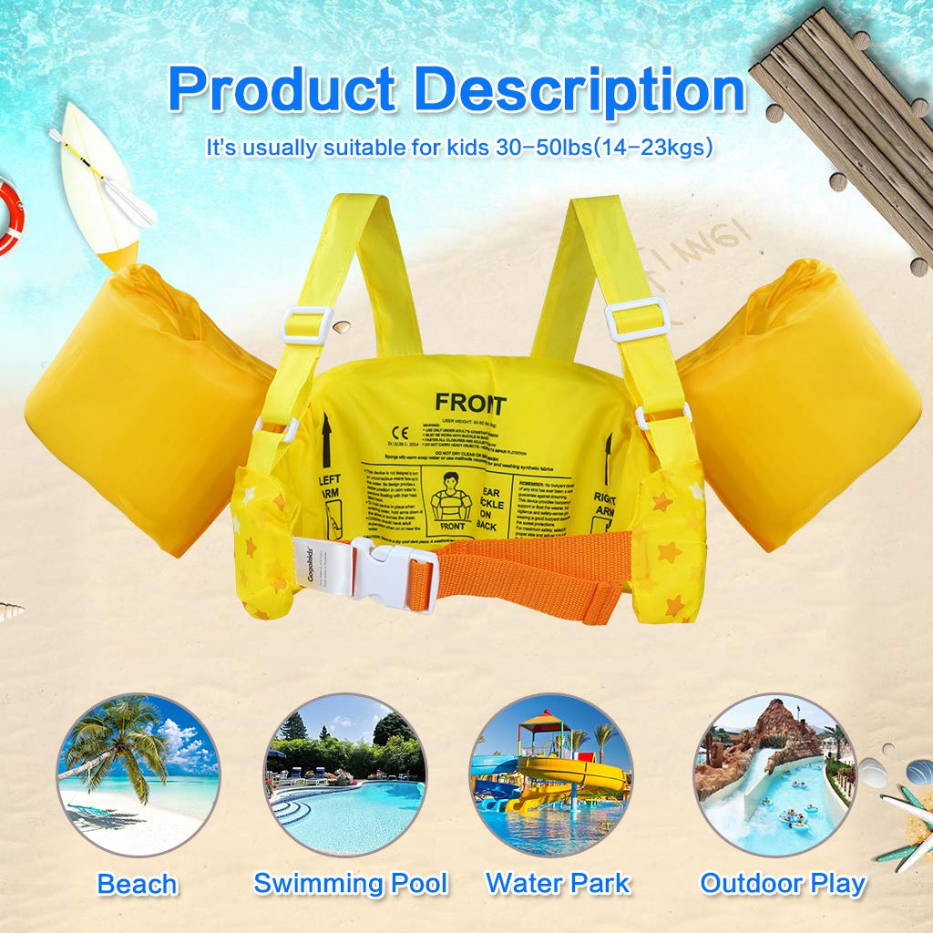 Swimming Aid Armbands for Toddlers Children 30-50lbs Gogokids Kids Swim Vest Life Jacket Float Vest with Arm Wings