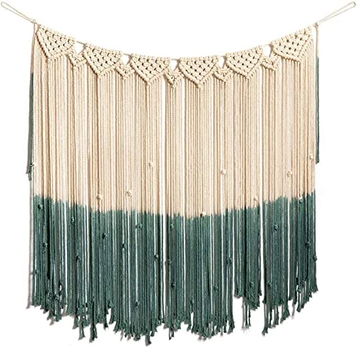 ARTALL Wall Hanging Macrame Curtain Fringe Banner Bohemian Wall Decor Woven Tapestry Home Decoration for Wedding Apartment Sage 36 w x 37 h