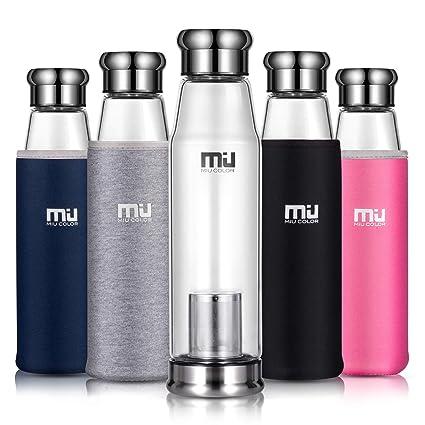 MIU COLOR – Botella portátil de vidrio de borosilicato botella auto con manguito de neopreno (