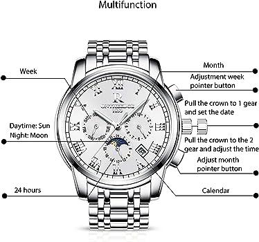 RORIOS Hombres Automático Mecánico Relojes de Pulsera Roman Number Business Acero Inoxidable Band Day Calendario Multifunción: Amazon.es: Relojes