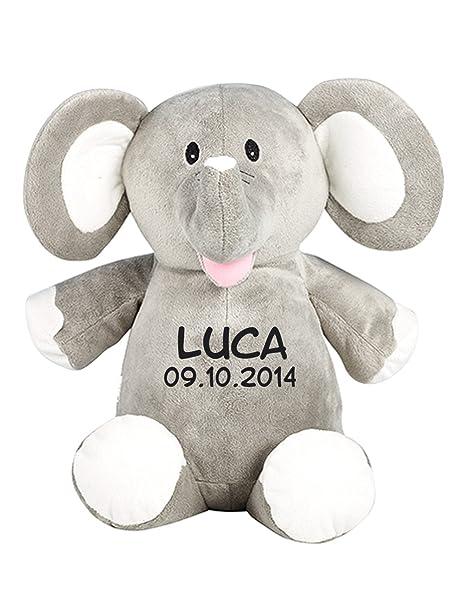 Wolimbo Elefant Teddy Stofftier mit Namen Bestickt 41 cm hoch