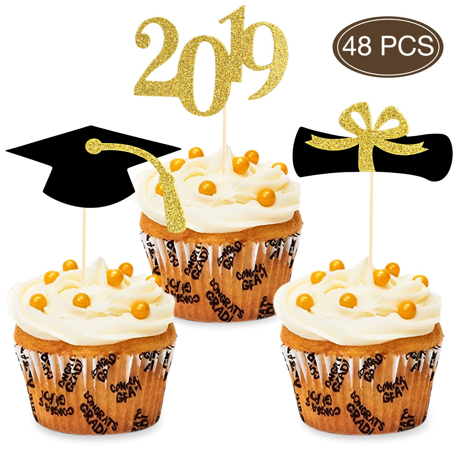 2019 Congrats Graduation Cupcake Toppers Food Appetizer Picks For Graduation Party Decorations Set Of 48