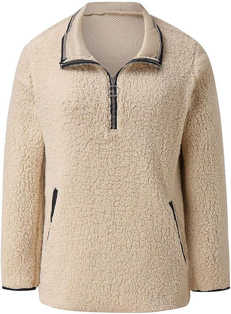 Womens Quarter Zip Sweatshirt Long Sleeve Sherpa Pullover Soft Fuzzy Fleece Pullover Sweatshirts with Pockets